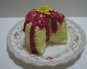 Crochet Food Pattern Cake Crochet Pattern PDF Instant Download Lemon Cake with Raspberry Jam
