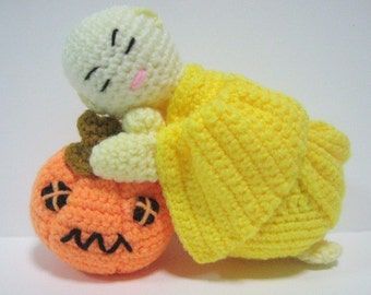 Amigurumi Doll Crochet Pattern Monk Halloween Pumpkin Pattern pdf Instant Download A Little Novice with his Halloween Pumpkin