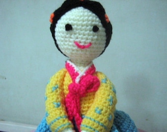 Korean Lady Crochet Pattern Amigurumi Crochet Pattern Pdf Instant Download Lady Hea in Korean Traditional Dress (Hanbok)