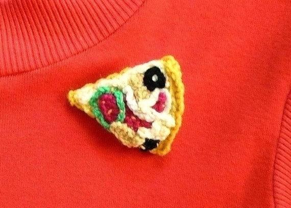 Brooch Crochet Pattern Accessories Pattern PDF Instant Download Pizza Brooch