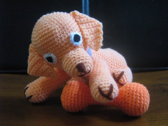 Dog Crochet Pattern Animal Amigurumi Crochet Pattern PDF Instant Download Amigurumi Puppy Paddy and his toy bone