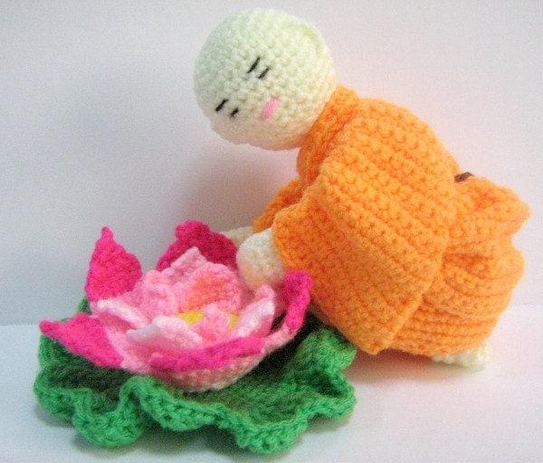 Amigurumi Flower Crochet Pattern : Amigurumi Crochet Pattern Monk Lotus Flower Crochet Pattern