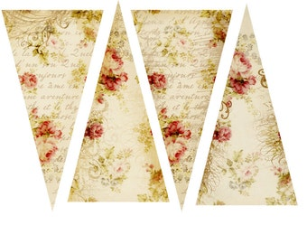 INSTANT DOWNLOAD DIGITAL Roses and Script Banner, Bunting, Garland Vintage Shabby Cottage ChicLook