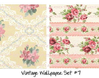 INSTANT DOWNLOAD DIGITAL  Vintage Wallpaper Set 7