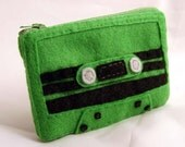Mix Tape Pouch - Green with Black Stripes