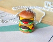 Hamburger Necklace Polymer Clay Handmade Pendant