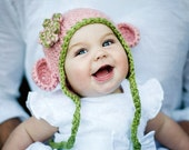 6-12m Organic Cotton Chunky Mini monkey Flap Hat Cherry Blossom with Pistachio Trim and flower