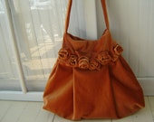 Velvet Bohemian Hobo Bag Pleated Pumpkin Colored Fall Shoulder Bag with Tattered Roses