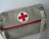 Re-Purposed Vintage Canvas Clutch Fold-Over/Shoulder Bag with Vintage Red Cross Patch