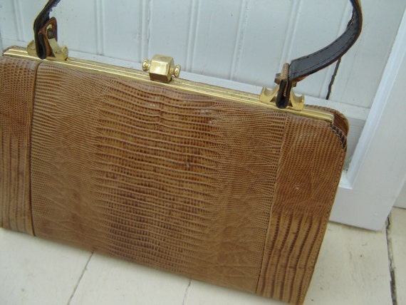 SALE Vintage Snakeskin Handbag Mad Men Style