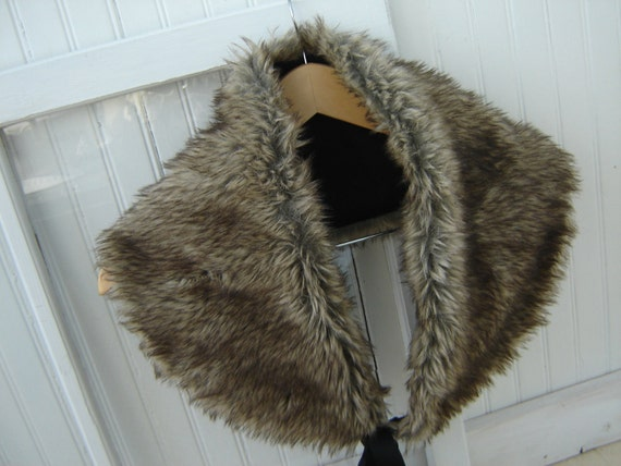 Faux Fur Collar/Shawl/Capelet Re-Constucted/ Re-Purposed Vintage