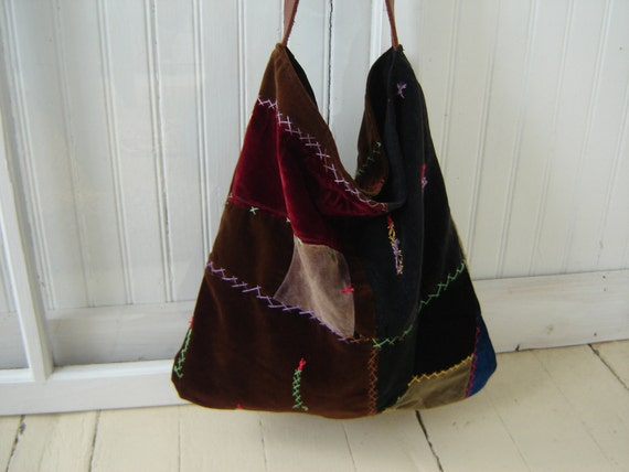 "Velvet Bohemian Bag Patchwork Quilt  ""California Dreaming"" with Leather Handle"
