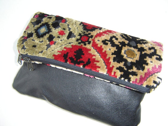 Leather Clutch Carpet Bag Fold-Over Style Bag Reserved for Meg