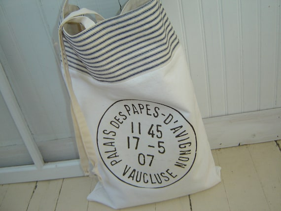 Large Canvas French Postal Market Bag/Tote with Blue Striped Ticking