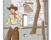 Lonesome Cowboy 1940's Vintage Wallpaper Switch Plate