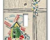 Lil Dutch Windmill 1940's Vintage Wallpaper Switch Plate