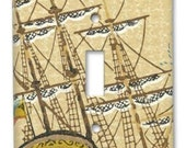 Old Ironsides Tall Ship 1960's Vintage Wallpaper Switch Plate