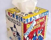 Circus Circus 1960's Vintage Wallpaper Tissue Box Cover