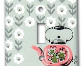 Charming Tea Pot 1950's Vintage Wallpaper Switch Plate