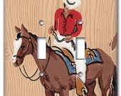 Western Cowboy 1950's Vintage Wallpaper Double Switch Plate