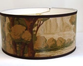 Antique Wallpaper Drum Shade 1920's Craftsman Scenic Floral