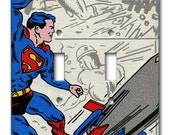 Superman Saves the Planet 1970's Vintage Wallpaper Double Switch Plate