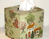 My Country Home 1960's Vintage Wallpaper Tissue Box Cover