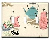 Pink and Blue Classic Kitchen 1950's Vintage Wallpaper Triple Switch Plate