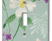 White Wildflower on Green with Purple Floral 1950's Vintage Wallpaper Switch Plate