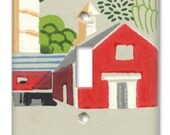 Funky Little Red Barn Farm 1950's Vintage Wallpaper Switch Plate