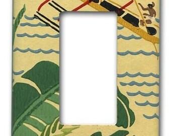 Mid Century Polynesian 1950's Vintage Wallpaper Decora Switch Plate