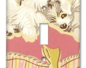 Puppy Love 1950's Vintage Wallpaper Switch Plate
