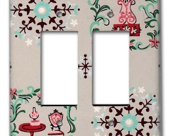 Cozy Country Charm 1950's Vintage Wallpaper Switch Plate