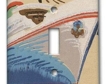 Ocean Liner 1950's Vintage Wallpaper Switch Plate
