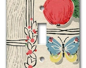 Apple and Butterfly 1940's Vintage Wallpaper Switch Plate