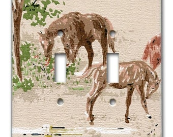 Kentucky Horse Farm 1950's Vintage Wallpaper Double Switch Plate