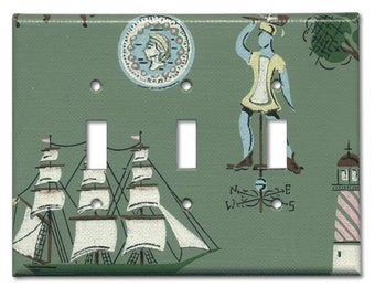 Colonial Port 1950's Vintage Wallpaper Triple Switch Plate