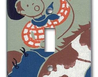 Cowboy Switch Plate 1950's Vintage Wallpaper Giddyup Buckaroo
