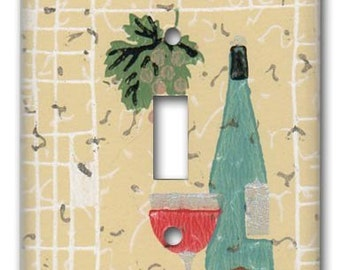 Always Time for Wine 1940's Vintage Wallpaper Switch Plate