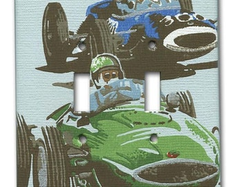Gear Jammers Racing 1960's Vintage Wallpaper Double Switch Plate