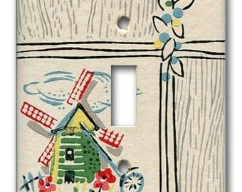Lil Dutch Windmill 1940's Vintage Wallpaper Switch Plate