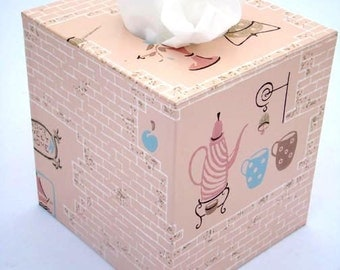 Home Sweet Home Pink Coffee Kitchen 1950's Vintage Wallpaper Tissue Box Cover