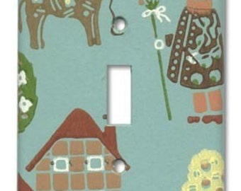 Folksy Charm 1950's Vintage Wallpaper Switch Plate