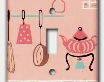 Pink Coffee Kitchen 1950's Vintage Wallpaper Switch Plate