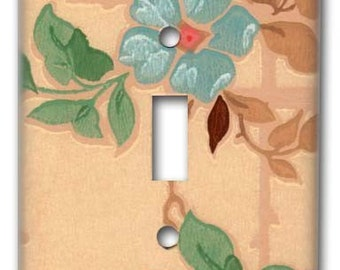 Craftsman Floral 1940's Vintage Wallpaper Switch Plate
