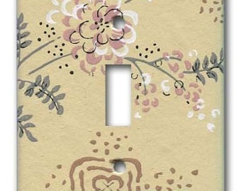 Shabby Floral 1950's Vintage Wallpaper Switch Plate