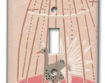 Big Pink Emu Bird  Cage 1950's Vintage Wallpaper Switch Plate