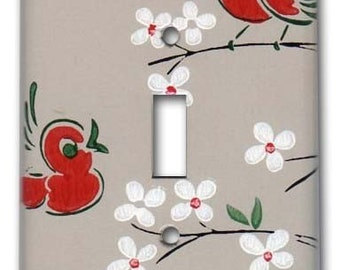 Birds and Blooms 1950's Vintage Wallpaper Switch Plate
