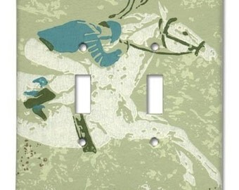 Horse and Jockey 1960's Vintage Wallpaper Double Switch Plate