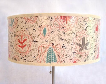 Drum Shade 1950's Vintage Wallpaper Mid Century Atomic Floral